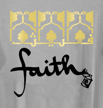 "Load image into Gallery viewer, Gray Women's ""Faith"" Graphic Print Long Tunic Tee"