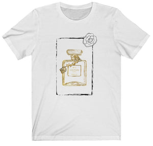 "White Graphic ""Couture"" Perfume Bottle Women's Tee"