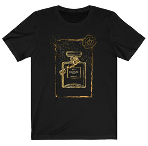 "Black Graphic ""Couture"" Perfume Bottle Women's Tee"
