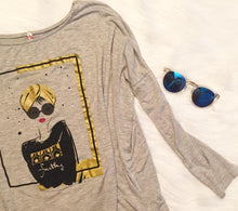 "Load image into Gallery viewer, Gray Women's ""Turban Girl"" Long Tunic Tee"