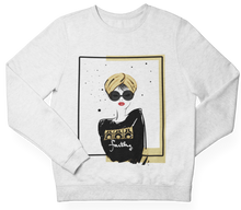 Load image into Gallery viewer, White TURBAN GIRL Crewneck Pullover