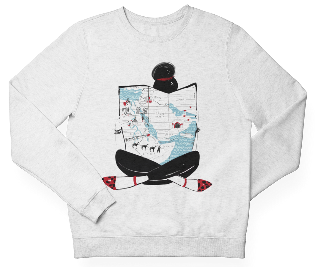 White MAP GIRL Crewneck Pullover