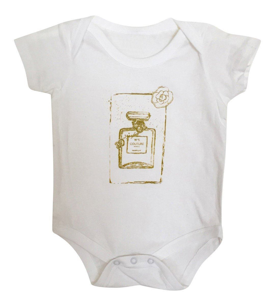 White Baby Couture Perfume Bottle Onesie