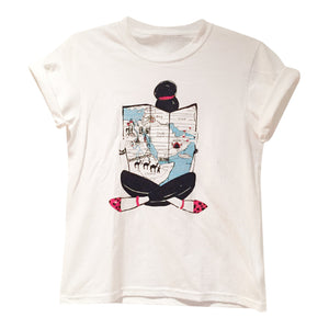 "White Graphic ""Map Girl"" Women's Tee"