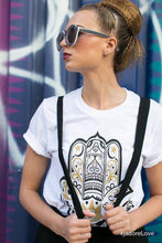 Load image into Gallery viewer, White Graphic Hamza Hand Tee