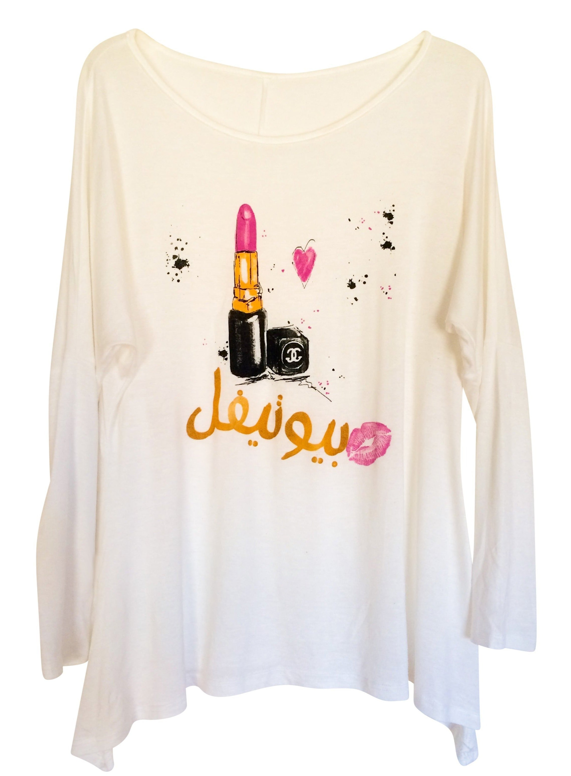 "Tunics - Arabic ""Beautiful"" Lipstick Long Tunic Tee- White"