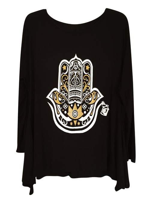 "Tunics - Arabic ""Hamza Hand"" Long Sleeve Tunic- Black"