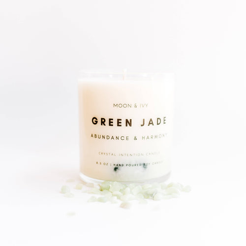 Green Jade Crystal Candle | Bright (Abundance & Harmony)
