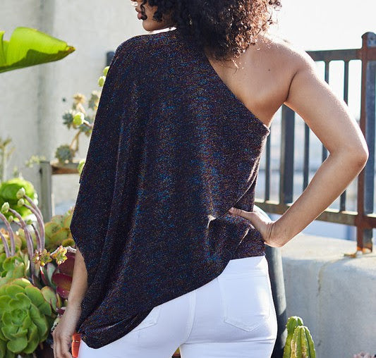 Asymmetrical Drape Sparkle Top