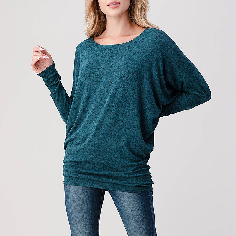 Wide Scoop Long Sleeve Dolman Top