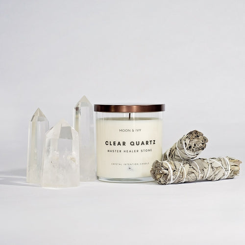 Clear Quartz Crystal Soy Candle | Clean/Floral (Master Healer)