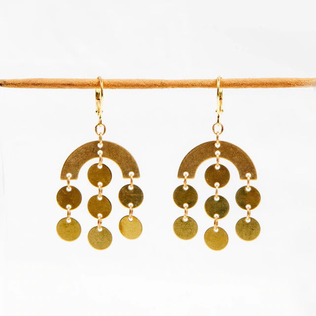 Brass Circle Rain Earrings