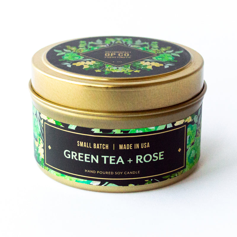 Green Tea + Rose 4 oz. Awakening Candle Tin