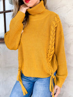 Lace-up Turtleneck Sweater