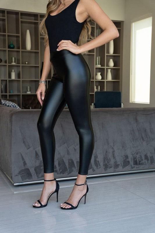 Metallic Finish Pleather Leggings