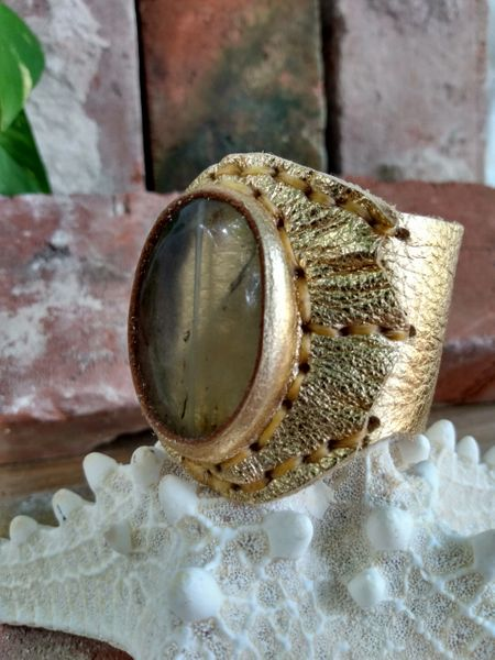 Gold Metallic Quartz Leather Cuff