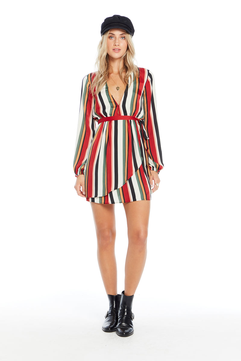 Long Sleeve Stripe Mini Dress
