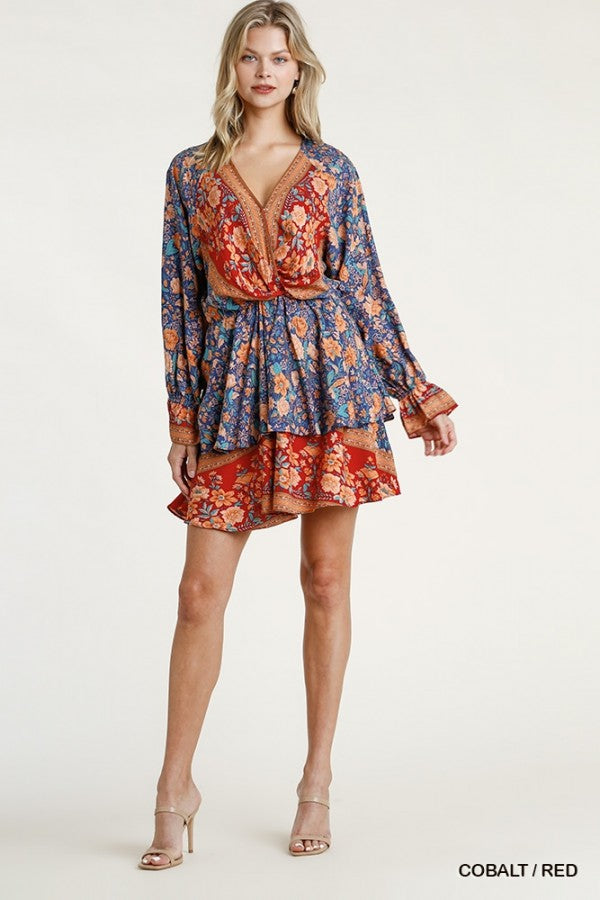Tiered Floral Print Border Dress