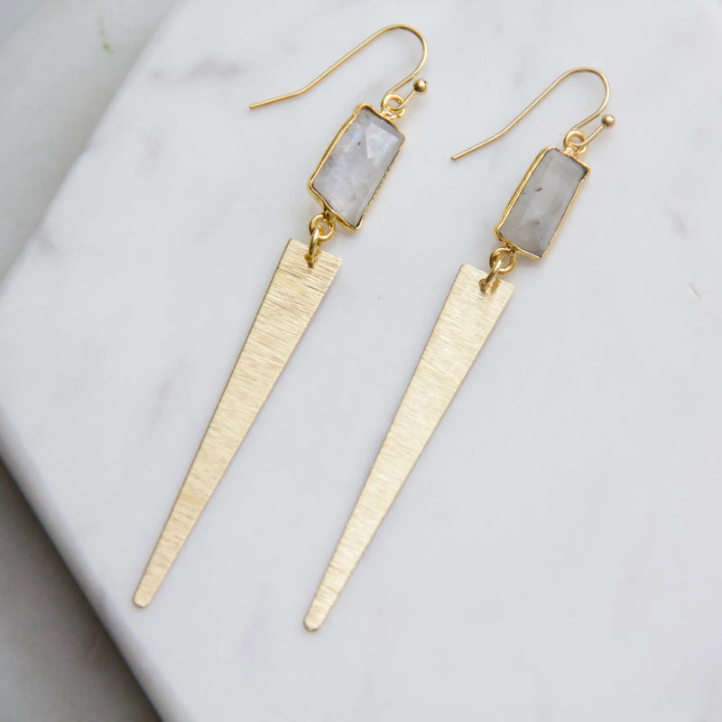 Moonstone Freeform Triangle Earrings