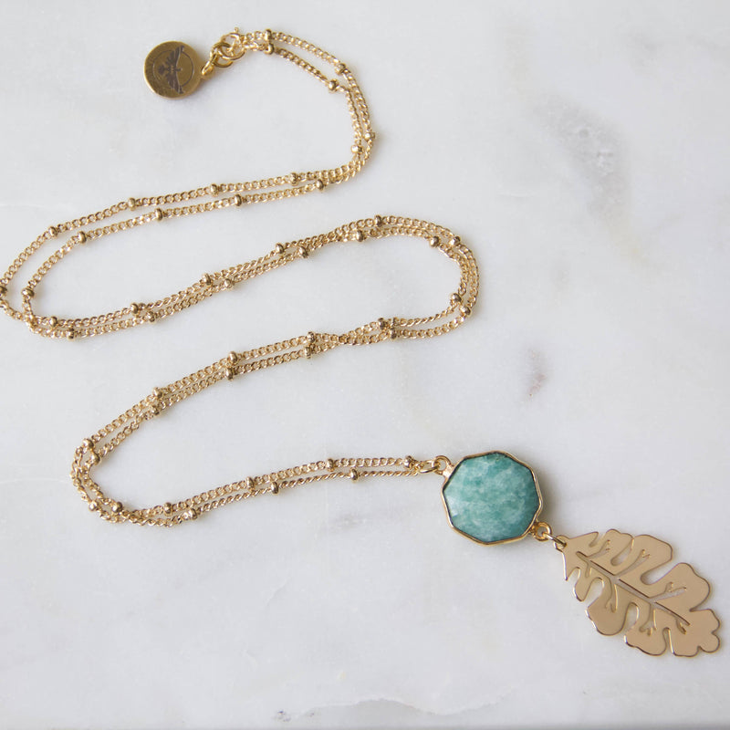 Amazonite Hexagon Leaf Long Necklace