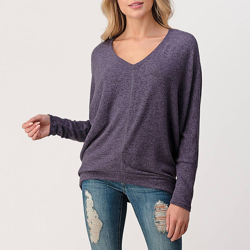 Center Seam V-neck Long Sleeve Dolman Top