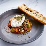 Load image into Gallery viewer, Burrata + Gigantes + Charred Tomato Vin