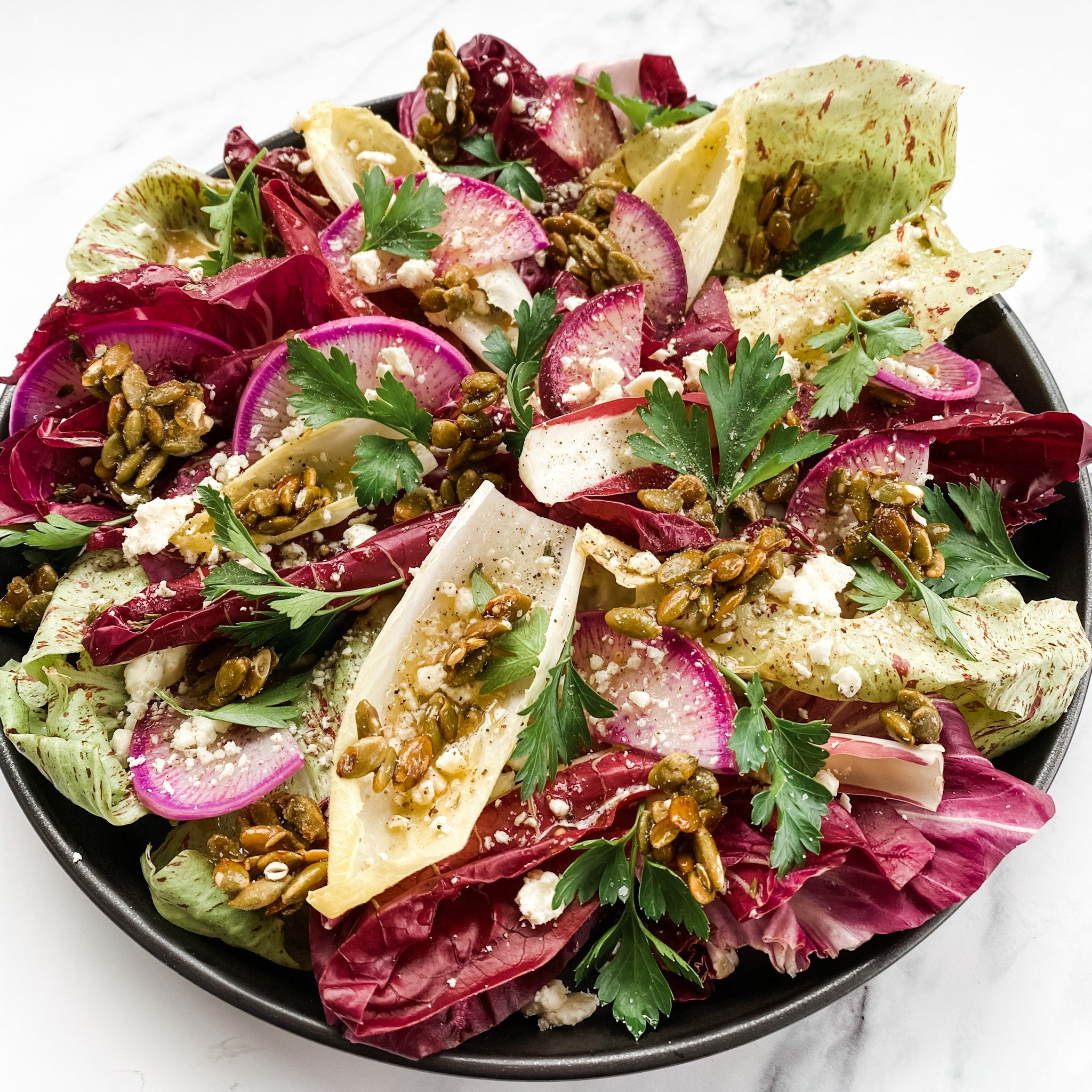 Chicories + Candied Pepitas + Cider Vin