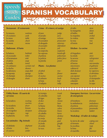 Spanish Vocabulary (Speedy Study Guides: Academic)