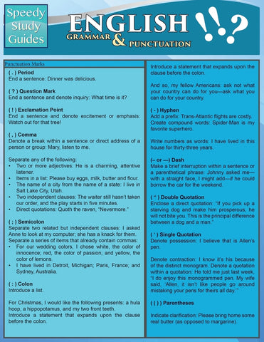 English Grammar & Punctuation (Speedy Study Guides: Academic)