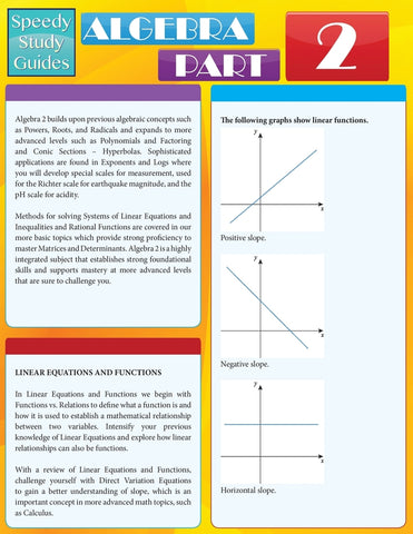 Algebra Part 2 (Speedy Study Guides: Academic)