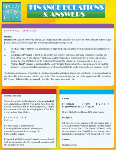 Finance Equations & Answers (Speedy Study Guides: Academic)