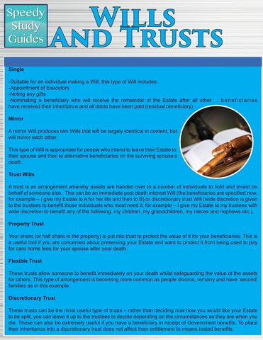 Wills and Trusts (Speedy Study Guides: Academic)