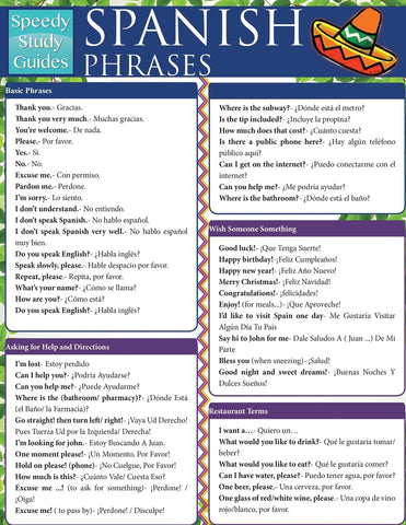 Spanish Phrases (Speedy Study Guides: Academic)