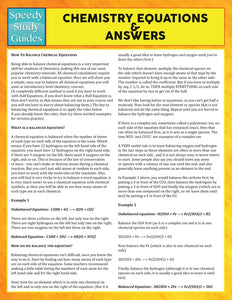 Chemistry Equations & Answers