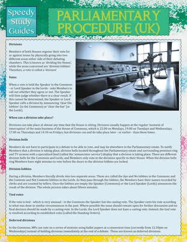 Parliamentary Procedure (UK) (Speedy Study Guide)