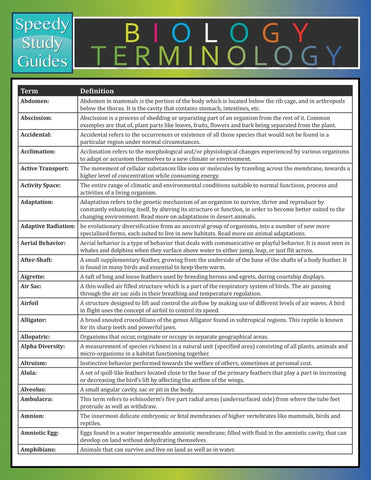 Biology Terminology (Speedy Study Guide)