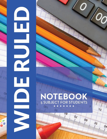 Wide Ruled Notebook: 5 Subject For Students