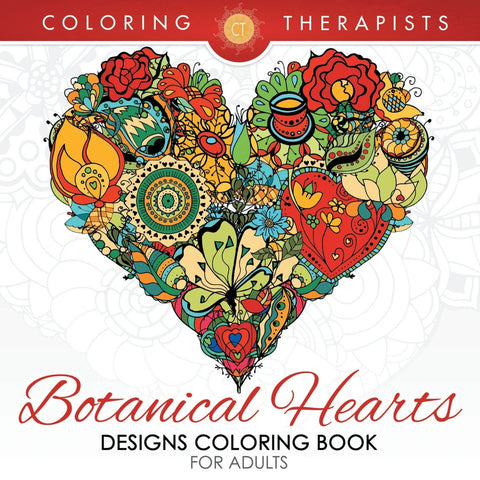 Botanical Hearts Designs Coloring Book For Adults