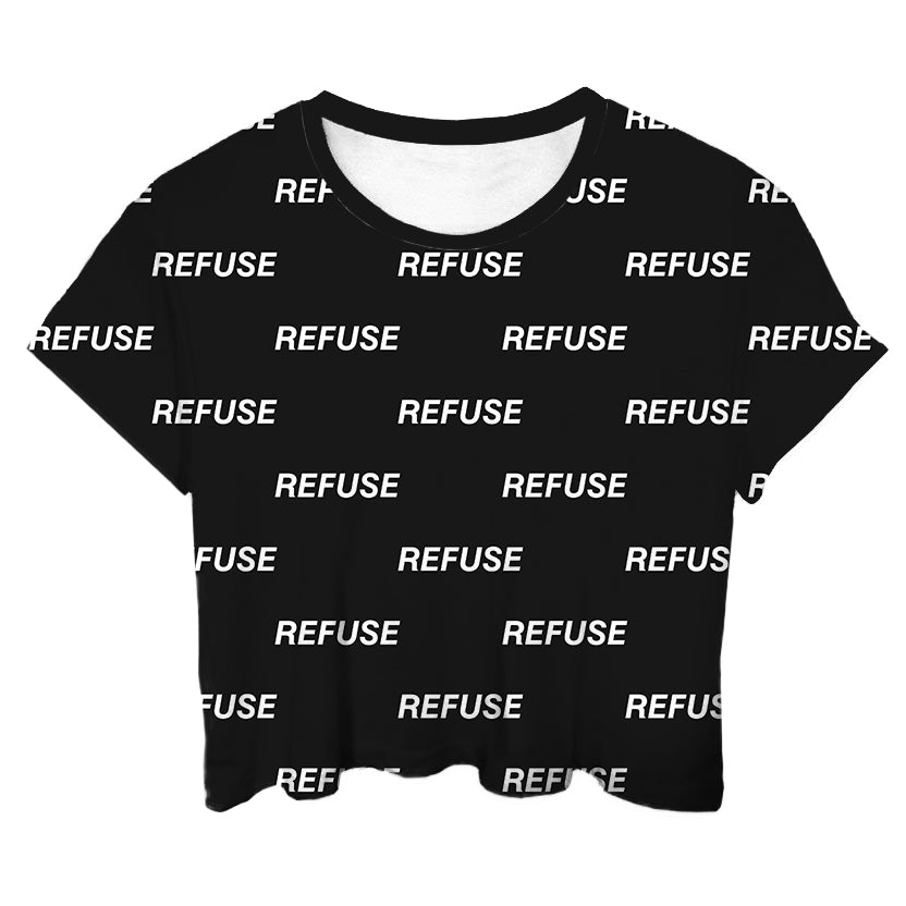Refuse Black All Over Crop Top - LifeBeingDest