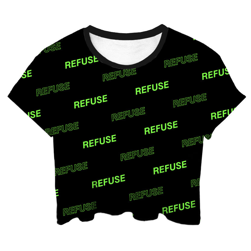 Refuse All Over Green Crop Top - LifeBeingDest