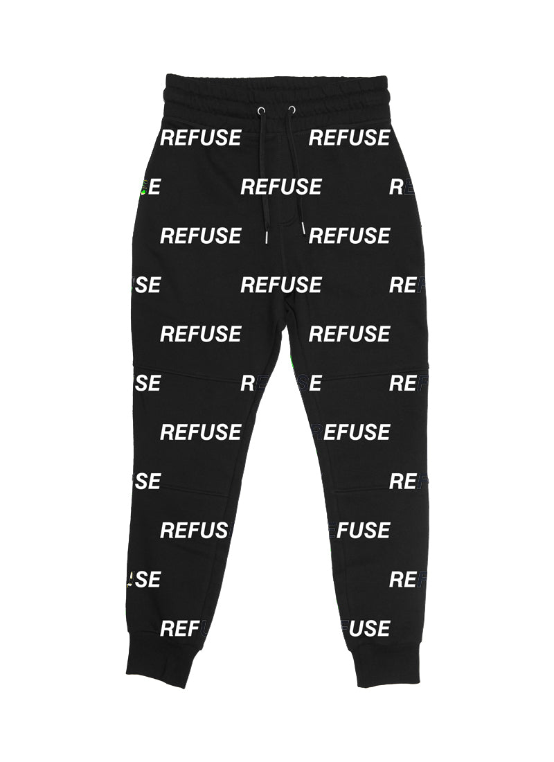 Refuse Black All Over Joggers - LifeBeingDest