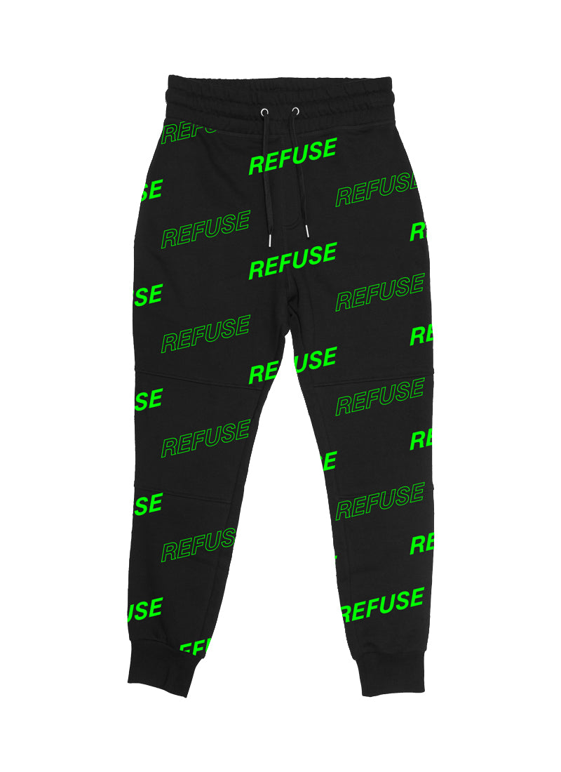 Black Joggers with the Refuse print (Neon Green) by RefuseTheBrand - LifeBeingDest