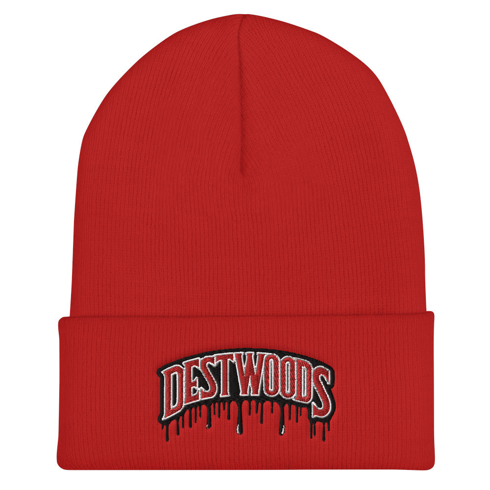 Red Beanie  with the DestWoods logo by RefuseTheBrand - LifeBeingDest