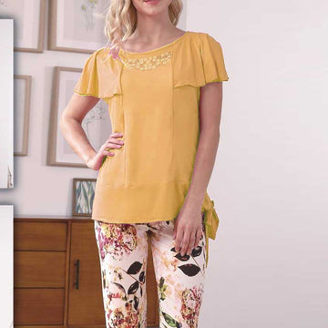 Women Flourish Knitted Night Suit - Yellow