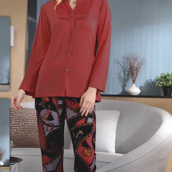 Women Flourish Knitted Night Suit - Red