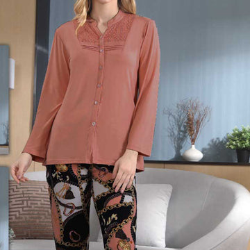 Women Flourish Knitted Night Suit - Rust