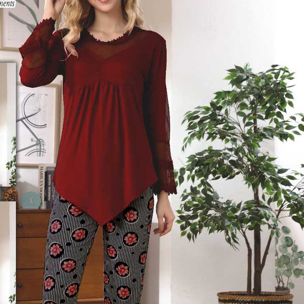 Women Flourish Knitted Night Suit - Maroon