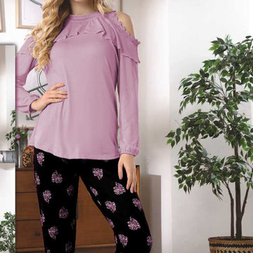 Women Flourish Knitted Night Suit - Light Purple