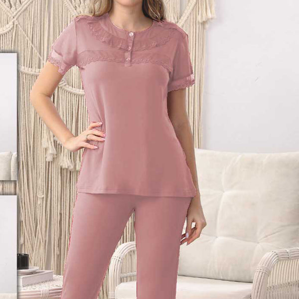 Women Flourish Knitted Night Suit - Baby Pink
