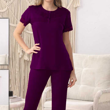 Women Flourish Knitted Night Suit - Purple
